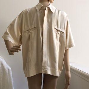 Vintage Genelli Silk Shirt Pleated Collar Large